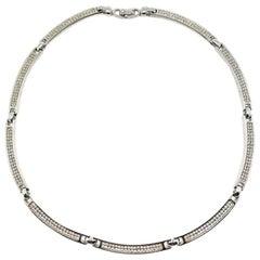 Vintage Christian Dior Contemporary Silver Crystal Collar 1990s