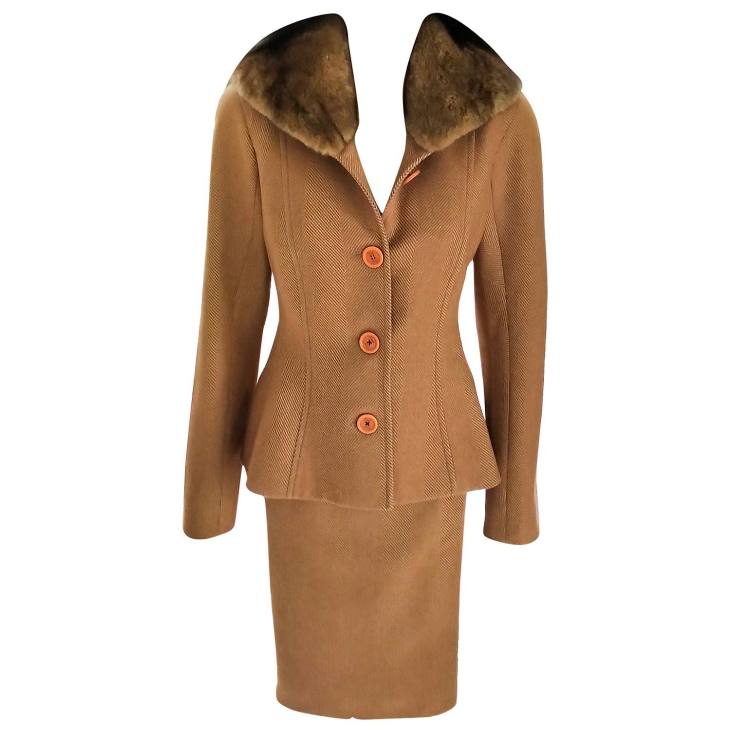 Vintage Christian Dior Copper-Bronze Tweed & Mink Jacket Skirt Suit FR 38/ US 6