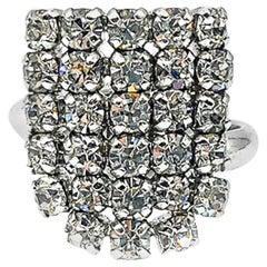Vintage Christian Dior Crystal Shield Cocktail Ring 1974