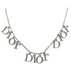 Vintage Christian Dior Crystal Spell Out Charm Necklace 1990s