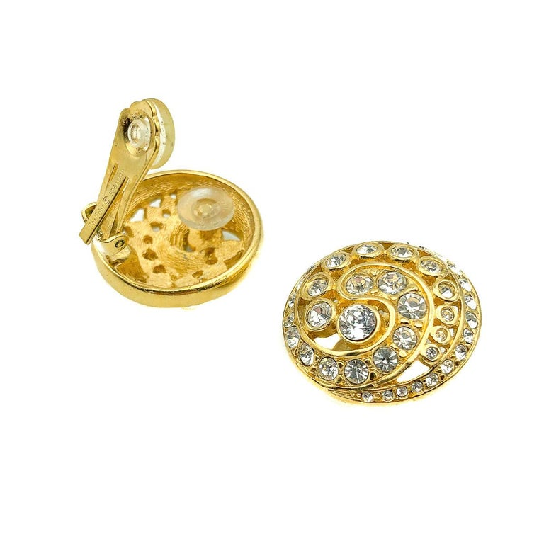 Vintage Christian Dior Crystal Swirl Earrings 1980s In Good Condition For Sale In Wilmslow, GB