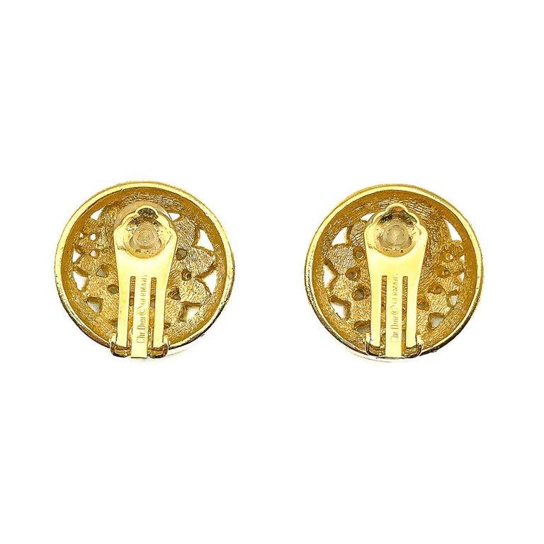 Women's or Men's Vintage Christian Dior Crystal Swirl Earrings 1980s For Sale
