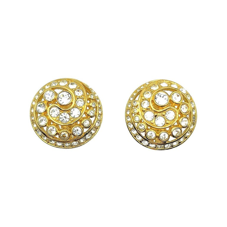 Vintage Christian Dior Crystal Swirl Earrings 1980s For Sale