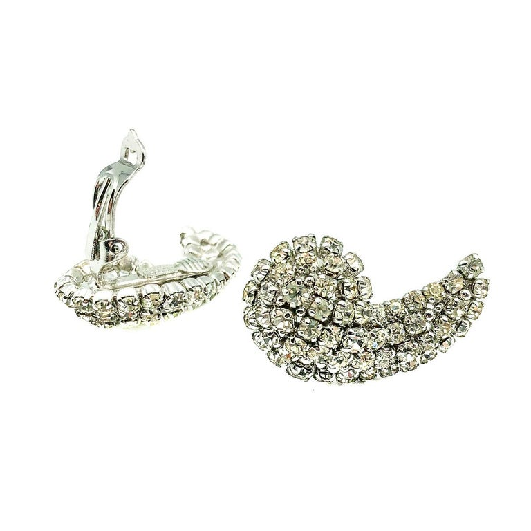 Vintage Christian Dior Crystal Wing Earrings 1974 In Good Condition For Sale In Wilmslow, GB