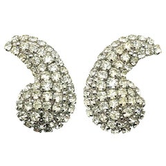 Vintage Christian Dior Crystal Wing Earrings 1974