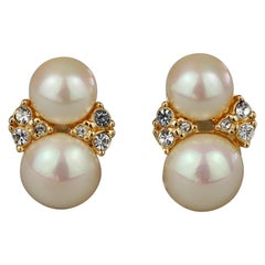 Vintage CHRISTIAN DIOR Double Pearl Rhinestone Earrings