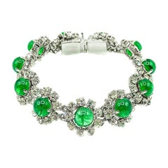 Vintage Christian Dior Emerald & White Paste Floral Cocktail Bracelet 1973