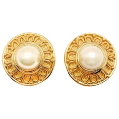 Vintage Christian Dior Etruscan Gold & Pearl Earrings 1980s