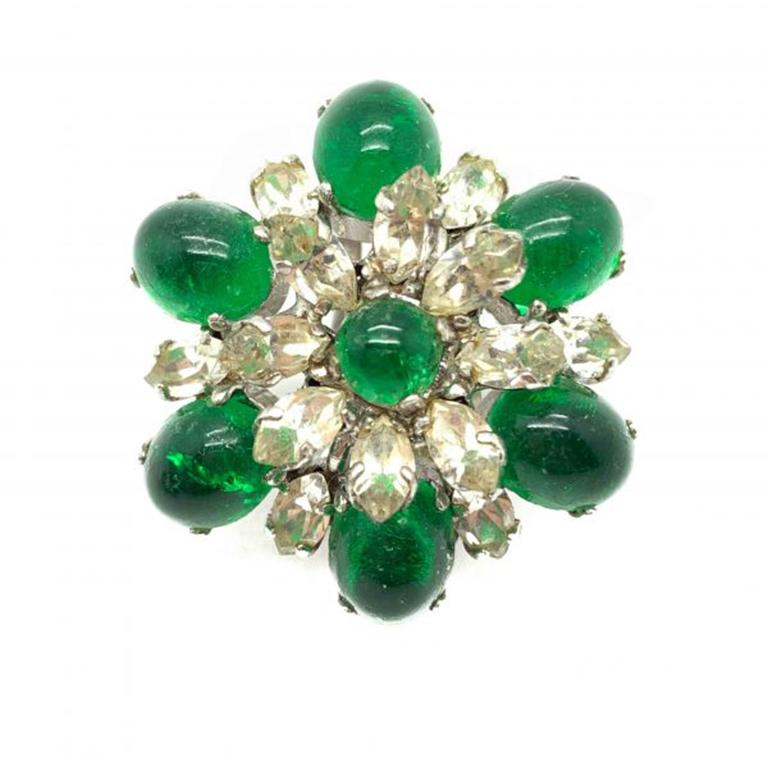 Glorious Vintage Dior Emerald Earrings from 1968. Designed during the remarkable 30 year tenure of Marc Bohan as Artistic Director for the House of Dior. As is well documented for Dior jewellery, the craftsmanship and quality of materials is