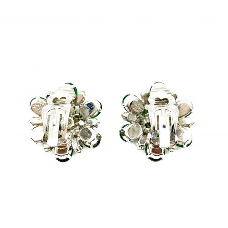 Women's Vintage Christian Dior Faux Emerald & Diamond Floral Clip Earrings 1968 For Sale