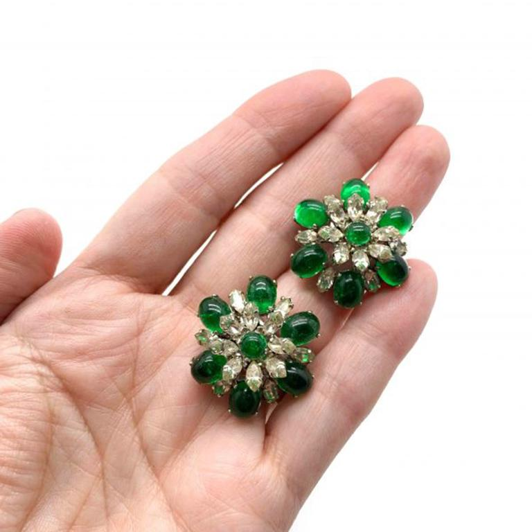 Vintage Christian Dior Faux Emerald & Diamond Floral Clip Earrings 1968 For Sale 1
