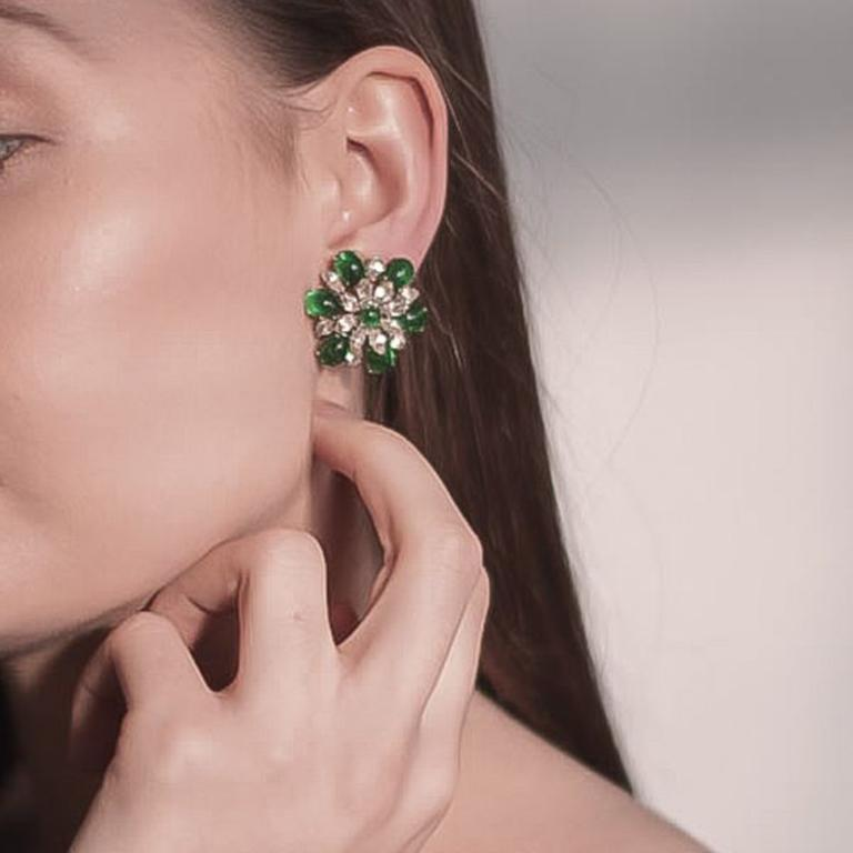 Vintage Christian Dior Faux Emerald & Diamond Floral Clip Earrings 1968 For Sale 2