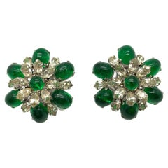 Vintage Christian Dior Faux Emerald & Diamond Floral Clip Earrings 1968