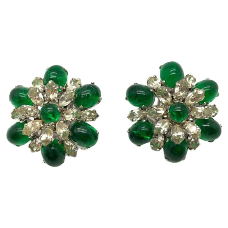 Vintage Christian Dior Faux Emerald & Diamond Floral Clip Earrings 1968 For Sale