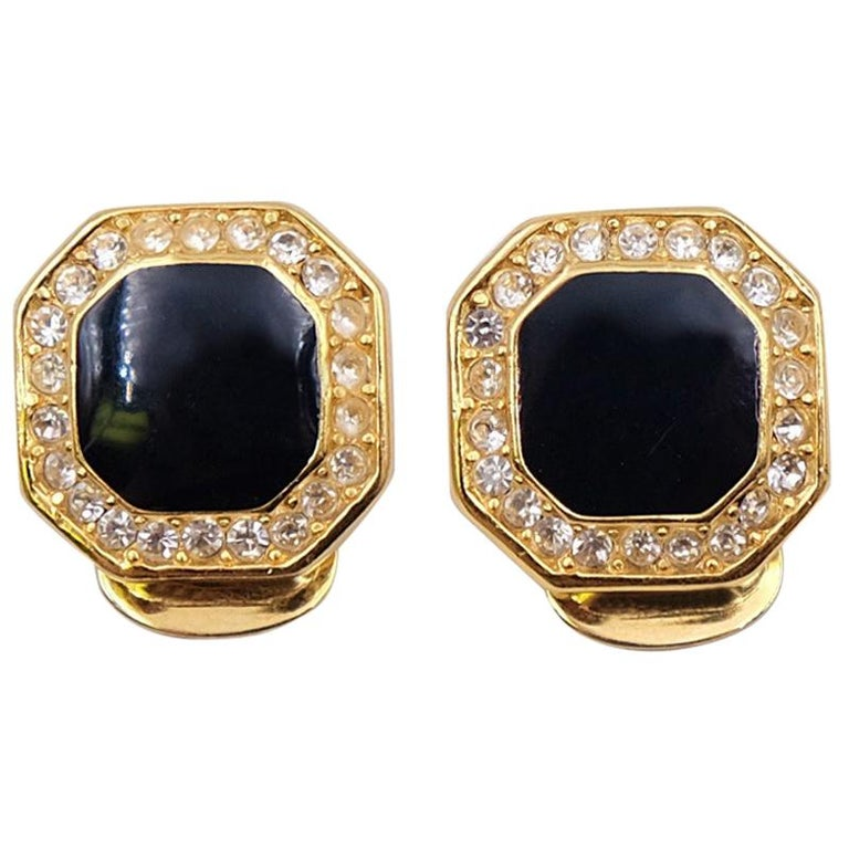 Vintage Christian Dior Faux Onyx Earrings 1990s For Sale