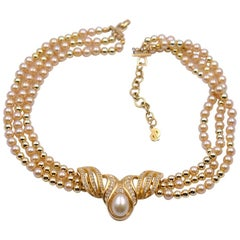 Vintage Christian Dior Faux Pearl Necklace 1980's