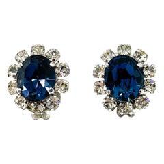 Vintage Christian Dior Faux Sapphire & Diamond Earrings 1950s