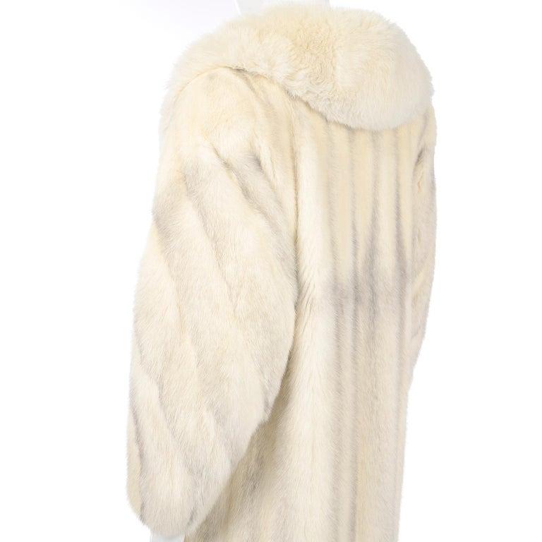 Vintage Christian Dior Fourrure White Mink Fur Coat w Fox Fur Collar For Sale 6