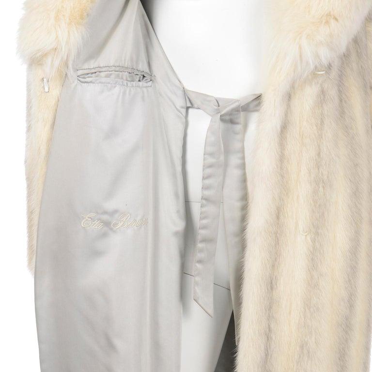 Vintage Christian Dior Fourrure White Mink Fur Coat w Fox Fur Collar For Sale 8