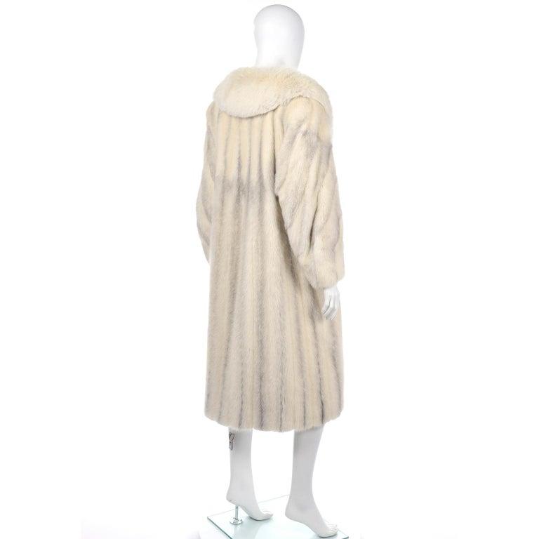 Women's Vintage Christian Dior Fourrure White Mink Fur Coat w Fox Fur Collar For Sale