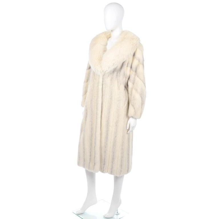 Vintage Christian Dior Fourrure White Mink Fur Coat w Fox Fur Collar For Sale 3