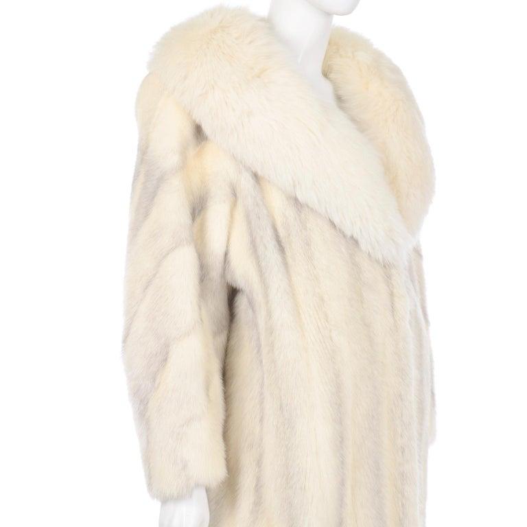 Vintage Christian Dior Fourrure White Mink Fur Coat w Fox Fur Collar For Sale 5