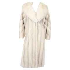 Vintage Christian Dior Fourrure White Mink Fur Coat w Fox Fur Collar