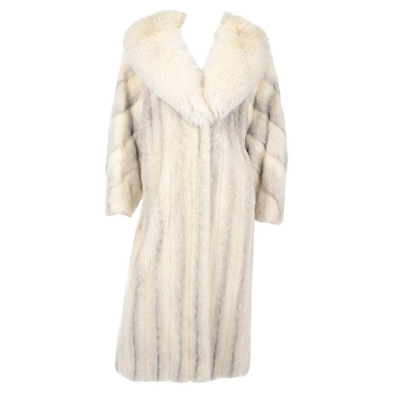 Vintage Christian Dior Fourrure White Mink Fur Coat w Fox Fur Collar For Sale