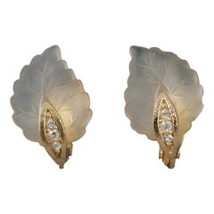 Vintage CHRISTIAN DIOR Frosted Glass Leaf Earrings
