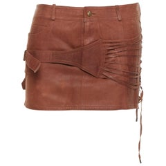 vintage CHRISTIAN DIOR Galliano brown leather strappy buckle mini skirt FR38