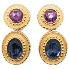 Vintage Christian Dior Gold Amethyst & Sapphire Crystal Drop Earrings 1990s