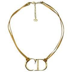 Vintage Christian Dior Gold Cd Logo & Leather Necklace 1980s