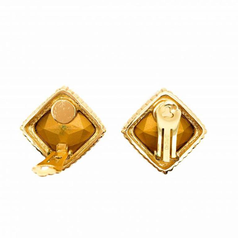 Vintage Christian Dior Gold & Crystal Headlight Earrings 1980s In Good Condition For Sale In Wilmslow, GB