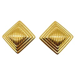 Vintage Christian Dior Gold Diamond Design Earrings 1980s