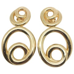 Vintage Christian Dior Gold Double Hoop Statement Earrings 1990s