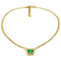 Vintage Christian Dior Gold & Emerald Crystal Necklace 1980s