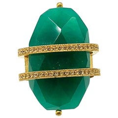 Vintage Christian Dior Gold & Green Oversize Cocktail Ring 1990s