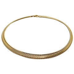 Vintage Christian Dior Gold Herringbone Collar 1980s