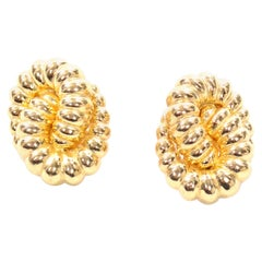 Vintage Christian Dior Gold Knot Clip Earrings