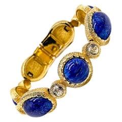 Vintage Christian Dior Gold & Lapis Cabochon Bracelet 1980s