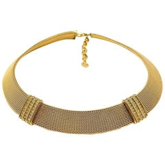Vintage Christian Dior Gold Mesh Collar with Crystal Panels 1980s