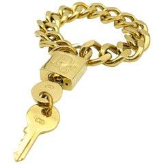 VIntage Christian Dior Gold Padlock & Key Bracelet 2000s