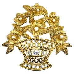 Vintage Christian Dior Gold & Pearl Floral Basket Brooch 1980s