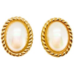 Vintage Christian Dior Gold & Pearl Oval Statement Earrings 1980s