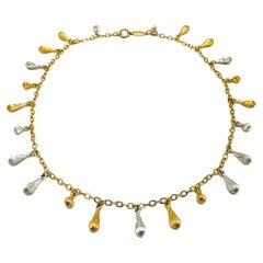 Vintage Christian Dior Gold & Silver Droplet Necklace 1970S