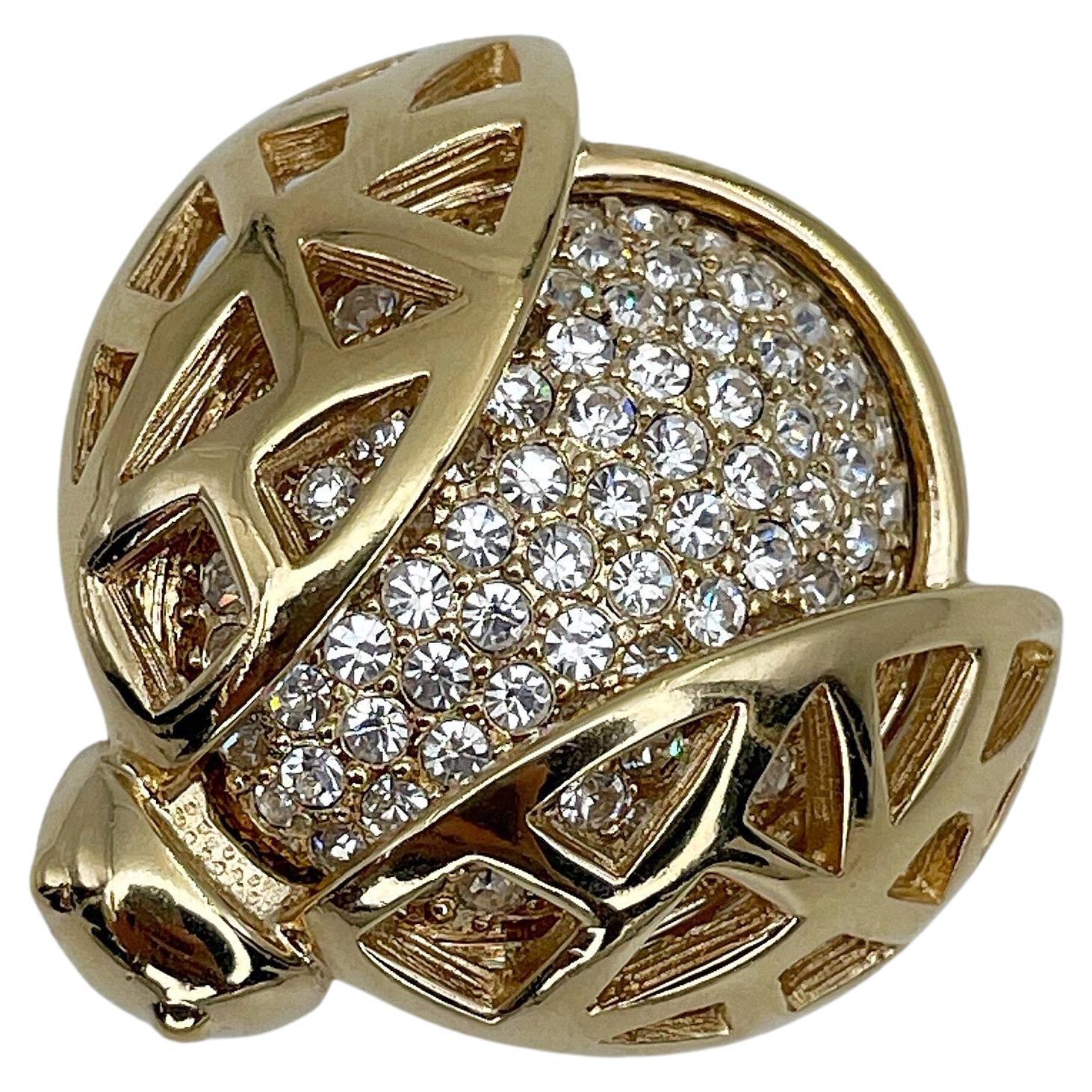 Vintage Christian Dior Gold Tone Ladybug Rhinestone Pin Brooch