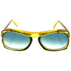 Vintage Christian Dior Green and Yellow Square Sunglasses
