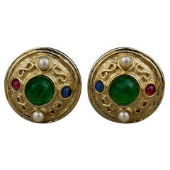 Vintage CHRISTIAN DIOR Gripoix Jeweled Earrings
