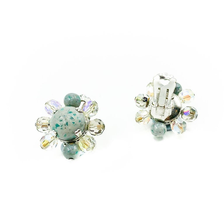 Vintage Christian Dior Ice Grey Speckle Glass Clips 1958 In Good Condition For Sale In Wilmslow, GB