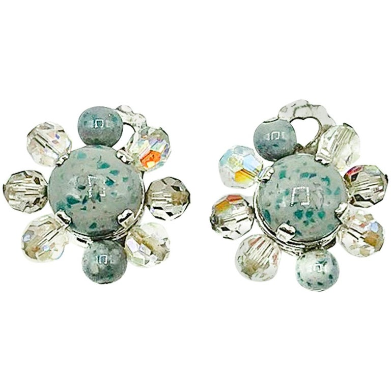 Vintage Christian Dior Ice Grey Speckle Glass Clips 1958 For Sale